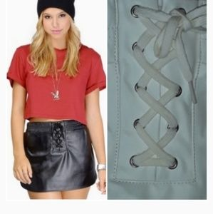 TOBI faux leather tie lace skirt